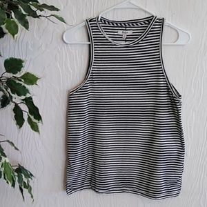 Madewell black and white striped tank top xs